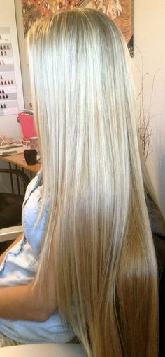 Pinning just because this is possibly the most gorgeous long blond hair I have ever seen. I just can't ever see or find long healthy blonde hair, not like you see in Brunettes Beautiful Long Hair, Gorgeous Hair, Beautiful Women, Amazing Hair, Pretty Hairstyles, Straight Hairstyles, Curly Hairstyles, Wedding Hairstyles, Hairstyle Ideas