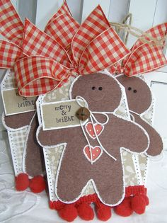 Gingerbread Christmas Tag with Gingham Bow Christmas Tags Handmade, Handmade Gift Tags, Christmas Paper Crafts, Christmas Gift Tags, Christmas Wrapping, Xmas Cards, Christmas Projects, All Things Christmas, Holiday Crafts