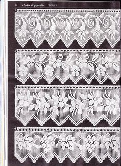 Duplet 138 p44. Four beautiful filet lace edgings with floral motifs. Charts on next page.