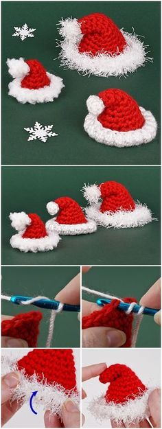 Crochet little Santa hat, .- Crochet little santa hat, # christmas hat - Crochet Christmas Ornaments, Christmas Crochet Patterns, Holiday Crochet, Crochet Gifts, Free Crochet, Christmas Crafts, Christmas Tree, Christmas Decorations, Halloween Crochet