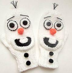 Olaf Frozen Snowman Mittens Knit pattern by Wistfully Woolen