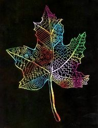 Scratch Art Leaf · Art Projects for Kids - Çoçuk Fall Art Projects, School Art Projects, Projects For Kids, Project Projects, Kratz Kunst, Scratch Art, Autumn Art, Leaf Art, Art Lesson Plans