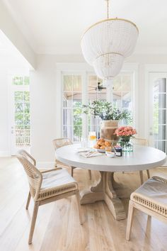 breakfast table complete with the cutest tabletop accessories + woven loom dining chairs + Bleached wood elements + Beaded chandelier Dining Room Inspiration, Home Decor Inspiration, Decor Ideas, Decorating Ideas, Home Interior, Interior Design, Interior Shop, Natural Interior, Simple Interior
