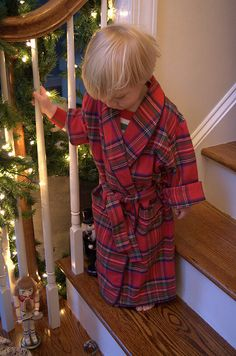Tartan robe on Christmas morning - oh Boy