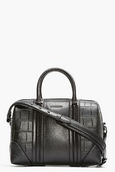 GIVENCHY Black Croc-Embossed Leather Lucrezia Duffle Bag