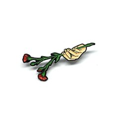 """A+familiar+hand+holding+two+stemmed+gladiolas,+1.25""""+tall+soft+enamel+pin+with+black+nickel+plating+and+two+backings.+Limited+to+100+pins."""