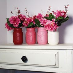 4- Hand Painted Pint Mason Jar Flower Vases-Valentine Colors-Country Decor-Cottage Chic-Shabby Chic-French Chic. $25.00, via Etsy.