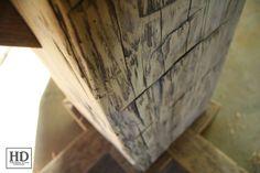 Round Reclaimed Wood Pedestal Table - Ontario Barn Wood Construction - Premium epoxy/matte polyurethane finish   Posted by Gerald Reinink, Design & Sales  Copyright HD Threshing Floor Furniture / www.hdthreshing.com