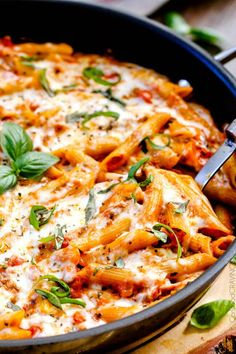 One Skillet Cheesy Penne - with the best homemade sauce
