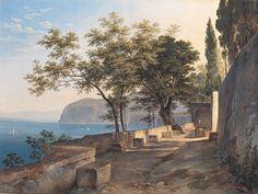 Heinrich Reinhold (German, 1788-1825), Terrace of the Capuchin Priory in Sorrent, c. 1823-24, 41.7x54.8cm, Neue Pinakothek.