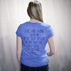 James 1:27 - Women's Logo Tee - Back View @Sarah Chintomby Jarrett Hope