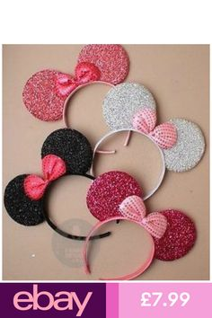 New Glitter Minnie Mouse Ears & Bow Black Pink Hen Party Fancy Dress Costume Minnie Mouse, Disfraz Minnie Mouse, Mickey Mouse Ears Headband, Minnie Mouse Party, Mickey Ears, Cute Headbands, Diy Headband, Diy And Crafts, Crafts For Kids