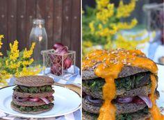 žít vege: slané pohankové lívance se špenátem, houbami, cibu...