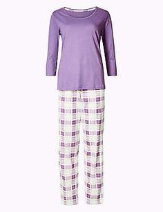 Schlafanzug aus reiner Baumwolle mit Karomuster