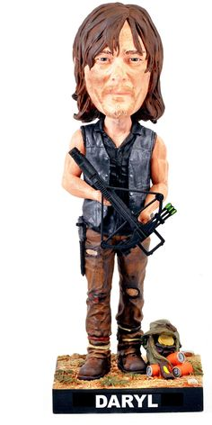 Officially Licensed Daryl Dixon Bobblehead from Royal Bobbles, featuring his crossbow and his backpack, which contains moonshine, orange sodas, and a power bar.