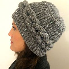 Knitted womans gray beanie hat,gray slouchy beanie hat,wool winter beanie hat,gray beanie hat handmade.gift for her,grey slouchy knit hat by Minnoshko on Etsy