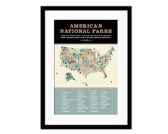 United Stated National Parks Poster - Art Print - America's National Parks Map - 12 x 18 Wall Art