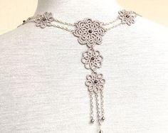 Ivory de encaje tatted collar  boda   flores  La bella