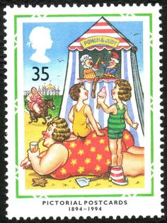 GB - Centenary of the Postcard. Great British comedy pcs, Punch and Judy show.