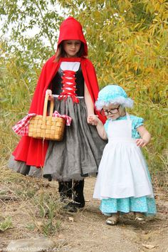 DIY Little Red Riding Hood, Granny & The Wolf Costumes | via Make It and Love It