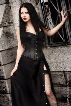 Gothic corset with dress slit