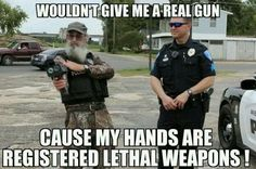 Si: cuz my hands are registered lethal weapons! Duck Dynasty