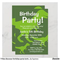 T-Rex dinosaur birthday party invitations for kids Dinosaur Invitations, Custom Invitations, Birthday Party Invitations, Dinosaur Birthday Party, 1st Boy Birthday, 1st Birthday Parties, You Are Invited, T Rex, Kid Names
