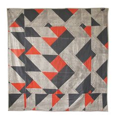 Pony Rider - Geo Quilted Throw - Tangerine - 100% linen cotton blend fabric is first hand screen printed in Australia