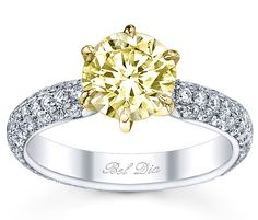 *** Bri... this is for you!!   Yellow diamond engagement ring with pave diamond band from DeBebians' Bel Dia Collection