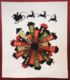 """Dresden Neighborhood Quilt Patttern By Persimon Dreams LLC Finished Quilt Size 24"""" x 24"""" If you would like the Dresden Neighborhood Ghost Templates please indicate in the checkout notes. If you are making the Christmas Dresden Neighborhood purchase the laser-cut Santa and Reindeer here. The Dresden Ruler can be purchased here."""