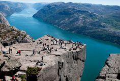 Preikestolen (Pulpit Rock) towers 600 metres above the Lysefjord, Norway