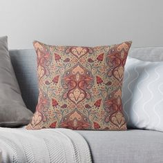 """Pretty Coral & Blue-Gray Paisley Pattern"" Throw Pillow by somecallmebeth 