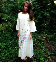 70s yellow dress / 1970s embroidered cotton hippie by CTMercantile, $38.00