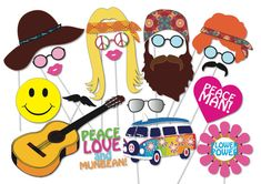 Hippie 60's 70's Party Photo booth Props Set - 20 Piece PRINTABLE - Photo Booth Props on Etsy, $7.68