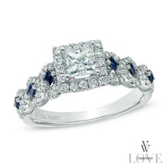 Vera+Wang+LOVE+Collection+1+CT.+T.W.+Diamond+and+Blue+Sapphire+Engagement+Ring+in+14K+White+Gold