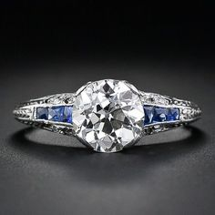 1.43 Carat Diamond and Sapphire Antique Engagement Ring