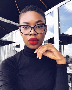 (@tshepiso_ralehlathe) twa. Red lipstick. Natural hair. Afro hair. Kinky hair. Short hairstyles.