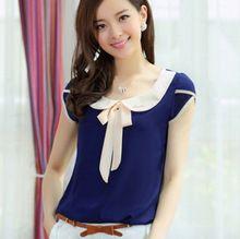 2015 nueva moda verano mujer blusas de la gasa ocasional más tamaño suelta de manga corta blusa mujeres tops(China (Mainland))