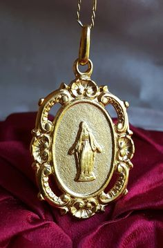 18k Gold Plated Silver French Blessed Mother Mary  Medal Art Nouveau Blessed Mother Mary Catholic Jewelry Religious Gift by SacredBarcelona on Etsy