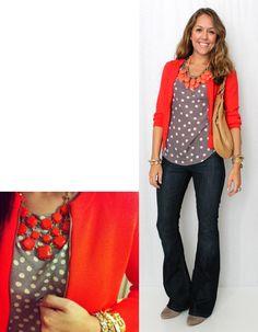 J's Everyday Fashion: pair my polka dot LOFT top with red-orange cardigan