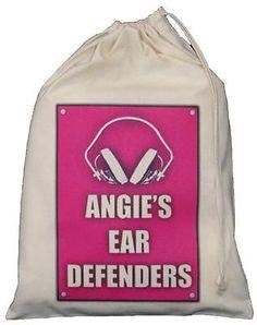 PERSONALISED - Ear Defenders Drawstring Storage Bag - Shooting DIY - PINK Personalised EAR DEFENDERS STORAGE BAG pink design Small Natural Cotton