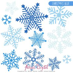 28 Christmas Blue Snowflake Clipart Scrapbook printables, snow holiday clip art set for Commercial Use. Snowflakes in boy colors