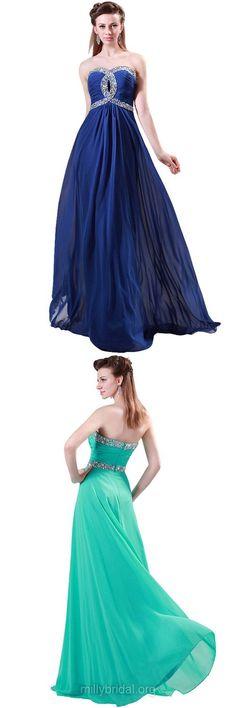 A-line Evening Dresses, Sweetheart Long Formal Dresses, Chiffon Cheap Graduation Party Dress, Women Beading Prom Dresses