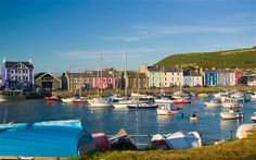 Boats moored in the harbour at Aberaeron Wales Camping, Welsh Coast, Quay West, Route Planner, Valley Village, Welsh English, Walking Routes, Newquay, Wonderful Places