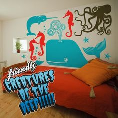 friendly sea creatures vinyl wall decal set