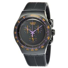 Swatch Men's YOB102 Stainless Steel Black Dial Chronograph Watch Swatch. $171.00. Durable mineral crystal protects watch from scratches,. Quartz movement. Water-resistant to 30 M (99 feet). Chronograph watch. Case diameter: 47 mm