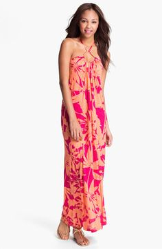 Velvet by Graham & Spencer Floral Print Halter Maxi Dress available at #Nordstrom