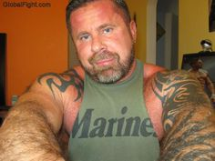 bearded marine hot stuff hairy arms shoulders