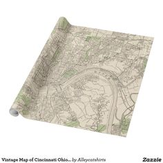 Vintage Map of Cincinnati Ohio (1915) Wrapping Paper