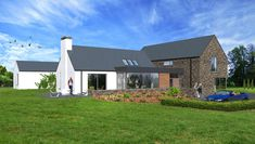 Contemporary house in Cavan, influenced by traditional rural architecture. The house is broken into a series of individual blocks representing the traditional cottage and associated outbuildings. The building is clad in natural stone and render. Modern Bungalow Exterior, Modern Bungalow House, Rural House, Bungalow Designs, Bungalow Ideas, House Outside Design, House Front Design, Style At Home, House Designs Ireland